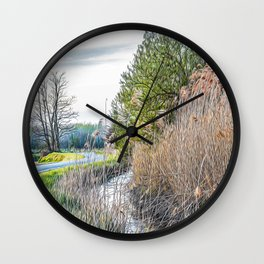 Little road in the Ticino river natural park during winter before sunset Wall Clock