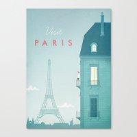 paris Canvas Prints featuring Paris by Travel Poster Co.