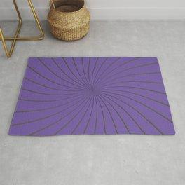 3D Purple and Gray Thin Striped Circle Pinwheel Digital Graphic Design Rug