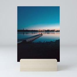 Fredericton Skyline at Night Mini Art Print