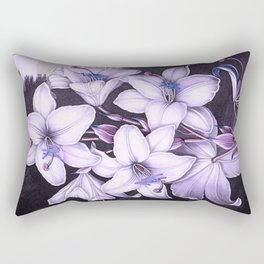 The White Lily w/ Variegated-leaves Lavender Temple of Flora Rectangular Pillow