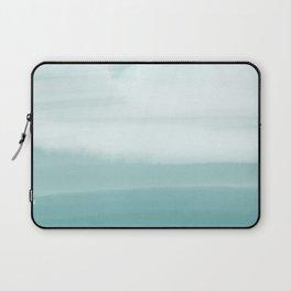 Ocean Sky // Surf Waves Teal Blue Green Water Clouds Watercolor Painting Beach Bathroom Decor Laptop Sleeve