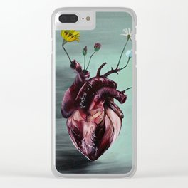 Human Heart With Flowers Clear iPhone Case