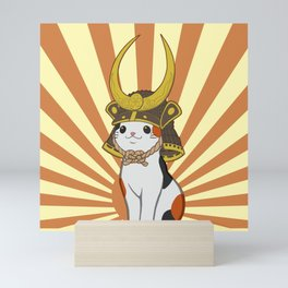Japanese Bobtail Cat Wears Samurai Hat Mini Art Print