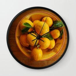 Lemons in bowl still llife Wall Clock