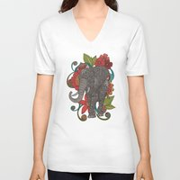 ruby V-neck T-shirts featuring Ruby by Valentina Harper