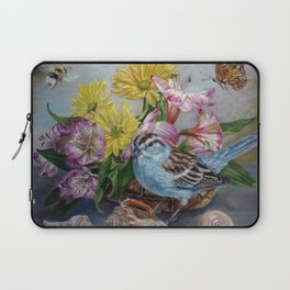Floral still life with sparrow, bumble bee, butterfly, and sea shells Laptop Sleeve