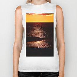 Glowing Sunset on the Sea Biker Tank