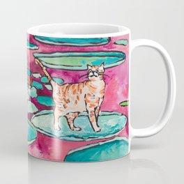 Ginger Cat amongst the Lily Pads on a Pink Lake Coffee Mug