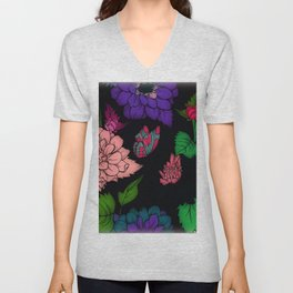 Fun With Coloring Floral Print 6 Unisex V-Neck