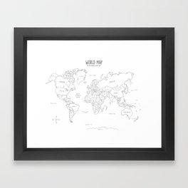 World Map minimal sketchy black and white Framed Art Print