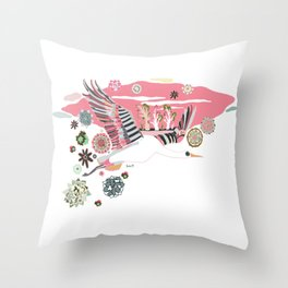 New Year flying Throw Pillow