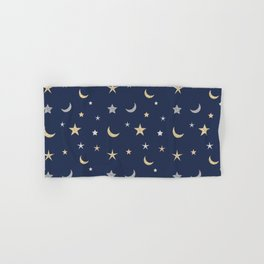 Gold and silver moon and star pattern on navy blue background Hand & Bath Towel