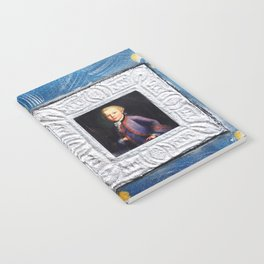 Portrait of youth Mozart on blue canvas with Fleur-de-lis by Ksavera Notebook