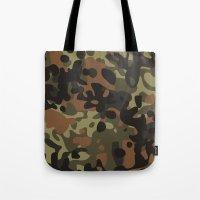 jay fleck Tote Bags featuring Fleck Tarn Camoflauge  by Derek Boman