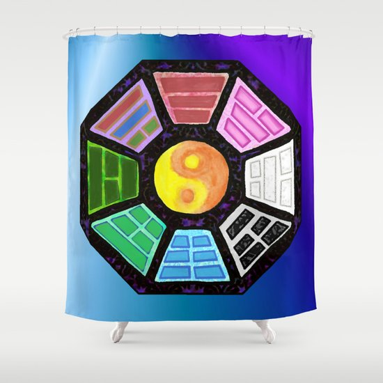 Painted Bagua Shower Curtain