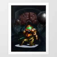metroid Art Prints featuring Metroid by Adrien Le Coz