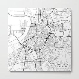 Antwerp Map, Belgium - Black and White Metal Print