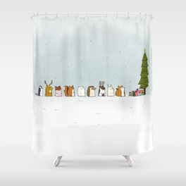 winter animals on the christmas tree Shower Curtain