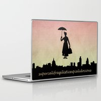 mary poppins Laptop & iPad Skins featuring mary poppins by cubik rubik