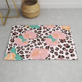 Leopard and watercolor roses pattern  Rug