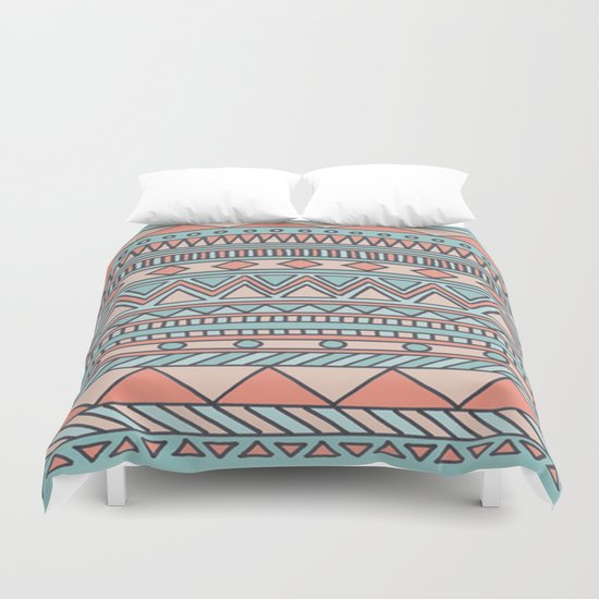 Tribal #4 (Coral/Aqua) Duvet Cover
