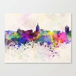Fresno skyline in watercolor background Canvas Print