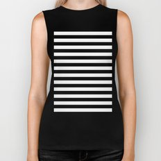 Horizontal Stripes (Black/White) Biker Tank