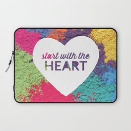 Start With The Heart Quote Print Laptop Sleeve
