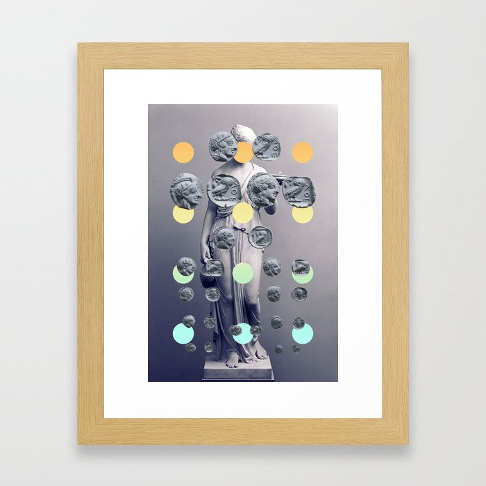 Statue With A Dot Gradient 1 Framed Art Print