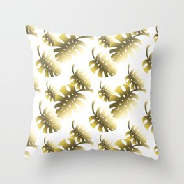 Modern gold color tropical cheese leaves pattern Throw Pillow