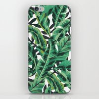 gray iPhone & iPod Skins featuring Tropical Glam Banana Leaf Print by Nikki