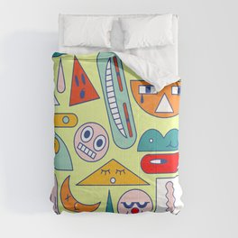 Funny geometric faces Comforters