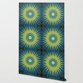 Bright Lime Green and Blue Mandala Wallpaper