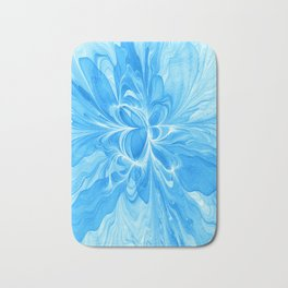 Blue Jeans Colors And White, Abstract Fractal Art Bath Mat
