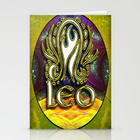 astrology Stationery Cards featuring Leo Zodiac Sign Astrology by CAP Artwork & Design