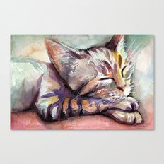Sleeping Kitten Watercolor Cat Whimsical Cats Canvas Print