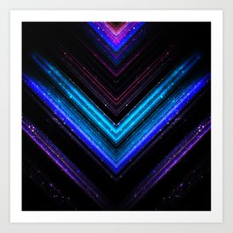 Sparkly metallic blue and purple galaxy chevron lines Art Print