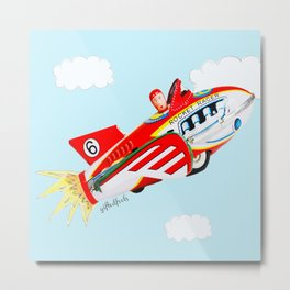 """""""Up, up and away!"""", the rocket man yelled.  Metal Print"""