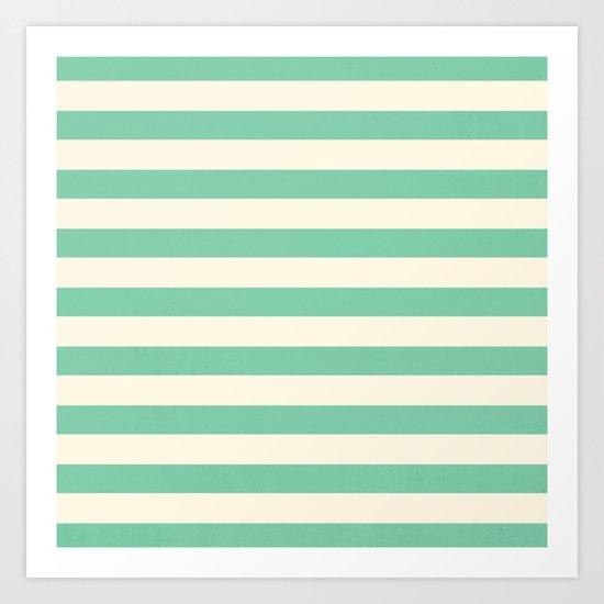Mint Green Stripes  Art Print