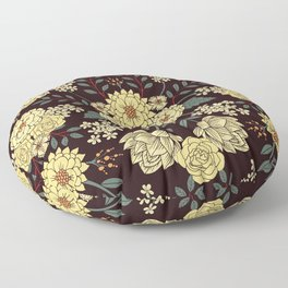 Teal, Cream, Red, Orange & Brown Flowers - Pretty Floral Pattern Floor Pillow