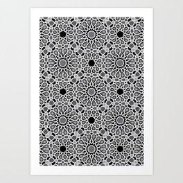 black and white Moroccan tiles Art Print