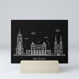 Sao Paulo Minimal Nightscape / Skyline Drawing Mini Art Print