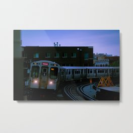 On Time El Train Chicago Train Windy City Transit Red Line L Train Metal Print