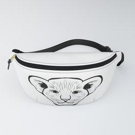 Black silhouette of a lion cub face. Lovely lion for pam, moms and toddlers, accessories. Fanny Pack