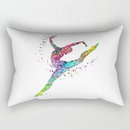 Gymnast Art Print Sports Print Watercolor Print Rectangular Pillow