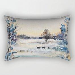 Winter - Snow - Image - Art - Painting - Watercolour - Wintry. Beautiful nature. Great outdoor. Go explore Rectangular Pillow