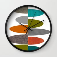 mid century modern Wall Clocks featuring Mid-Century Modern Abstract Ovals by Kippygirl