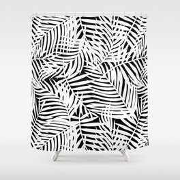 Tropical Black & White Leaves Shower Curtain