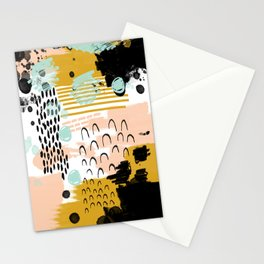Ames - Abstract painting in free style with modern colors navy gold blush white mint Stationery Cards